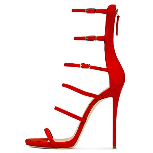 EKS Damen Rot Gladiator Thin Straps Stilettos High Heels Elegante Sandalen Party Sandals 43 EU Stiletto High Heel Strappy Sandal