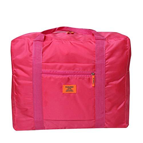 Crylee Wasserdichte Nylon Folding Travel Große Kapazität Aufbewahrungstasche Tragbare Kleidung Sortiertasche Wiederverwendbare Produziertasche Quittungstasche Spielzeug Halter Tasche (Pink) - Null-netto