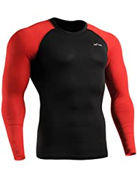emFraa Homme Femme MMA Sport Compression Black Tight Baselayer Tee-Shirt Long sleeve S~XXL