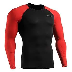 emFraa Homme Femme MMA Sport Compression Black Tight Baselayer Tee-Shirt Long sleeve S