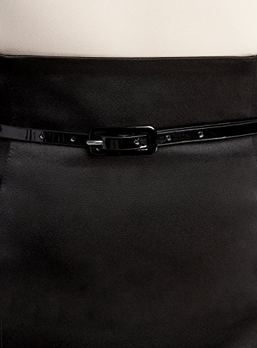 oodji Collection Damen Bleistiftrock mit Gürtel Schwarz (2900N)