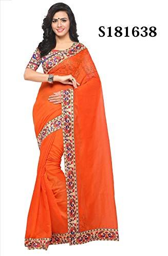 Orange Kostüm Sari Indien - Indische Bollywood Hochzeit Saree indische ethnische Hochzeit Sari Neue Kleid Damen lässig Tuch Geburtstag Ernte Top Mädchen Frauen schlicht traditionelle Party Wear Readymade Kostüm (orange 2)