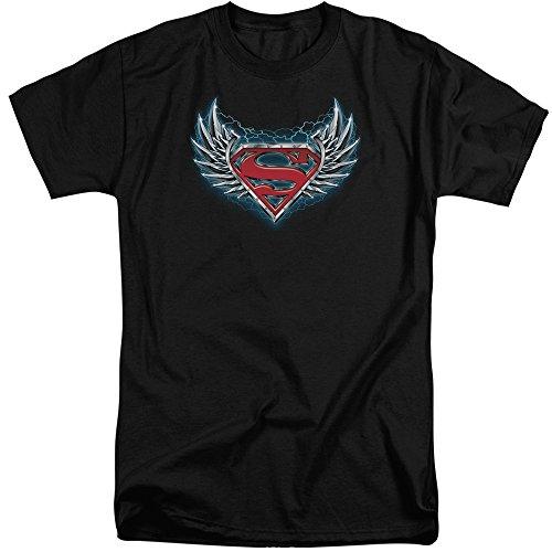 Superman Männer Stahl Flügel Logo Tall T-Shirt, X-Large, Black -