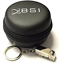 BSI Black Carrying Leather Case for Pebble Time / Time Steel + Free Silver Metal Truck Keychain with BSI(TM) LOGO