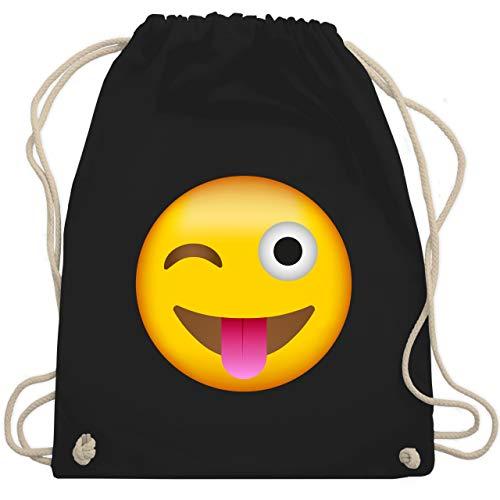 Comic Shirts - Emoji herausgestreckte Zunge - Unisize - Schwarz - WM110 - Turnbeutel & Gym Bag