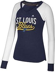 "St. Louis Blues Women's Adidas NHL ""Puck Drop"" Dual Blend Long Sleeve T-Shirt Chemise"