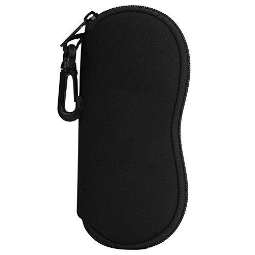 Moko custodia per occhiali da sole, astuccio portatile a cerniera di neoprene morbido con clip da cintura, per occhiali, montature, cosmetici, chiavi, penne, schede, ecc., - nero