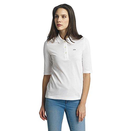 Lacoste PF5381 Klassisches Damen Polo, Polohemd, Polo-Shirt mit 3/4 Arm, Kurzarm, Regular Fit, für Freizeit und Sport, 100% Baumwolle Weiß (White 001), EU 40 Damen Polo-shirt Kleid