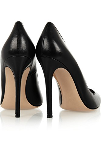 EDEFS - Escarpins Vernis Femme - Chaussures à Talons Hauts Aiguille - Bout Pointu PU Cuir - Fete Soiree Grande Taille Noir
