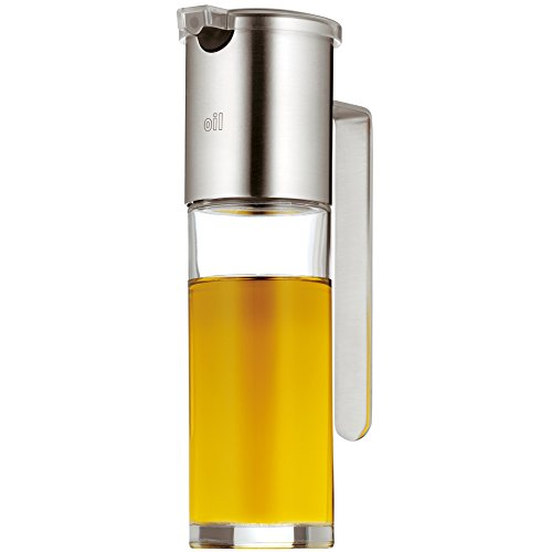 WMF Basic Ölspender 120ml, mit Aromadeckel und Rücklauföffnung, Essig und Öldosierer, Glas, Cromargan Edelstahl mattiert, spülmaschinengeeignet