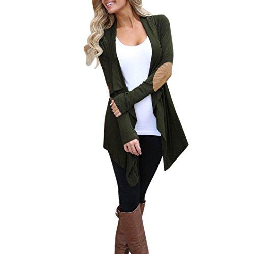 Resplend Damen Gestrickte Beiläufige lange Hülsen-Jacken-Oberteile Unregelmäßige Strickjackejacke Strickjacke Outwear (Armeegrün, S) (Puffer-jacke Packable-frauen)