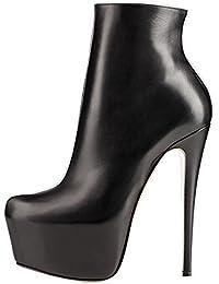 Damens Sexy High Heels Schuhe with Plattform for Prom Party Winder Kurze Stiefel Schwarz 45 EU MERUMOTE iFn5NZSz