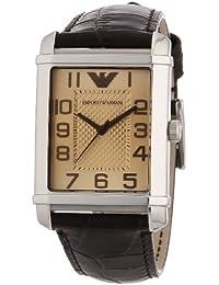 Emporio Armani Classic Angelo AR0490 - Reloj analógico de cuarzo para hombre, correa de cuero color marrón