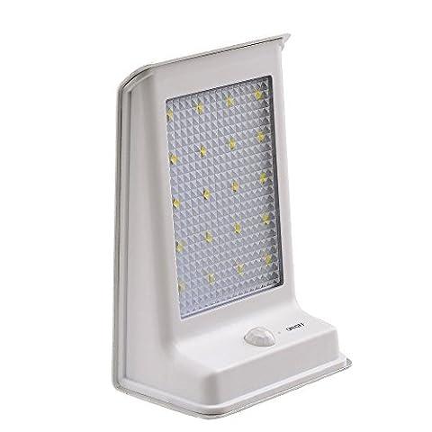 lederTEK lampe solaire murale avec 20 LED ampoules, interrupteur automatique, détecteur de mouvement PIR, imperméable, lampe sans fils pour éclairage extérieur