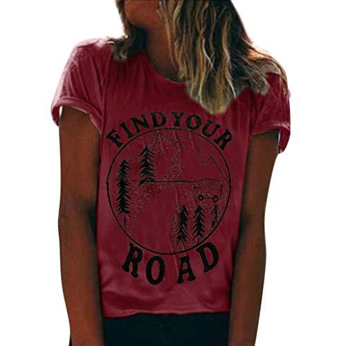 Damen Sommer T-shirt LILICHIC Mode Kurzarm Oberteile Casual Bluse Rundhals Tops Frauen Chic Tuniken Drucken Top - Vintage-muster-bolero