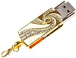 Microware Golden Crystal Stone Studd Fancy Designer 32GB Pen Drive 32GB Flash Drive