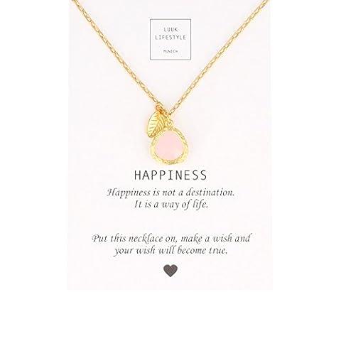 LUUK LIFESTYLE Bijou femmes, carte-cadeau, collier avec pierre rose en version dorée et feuille dorée, porte-bonheur, carte message Happiness