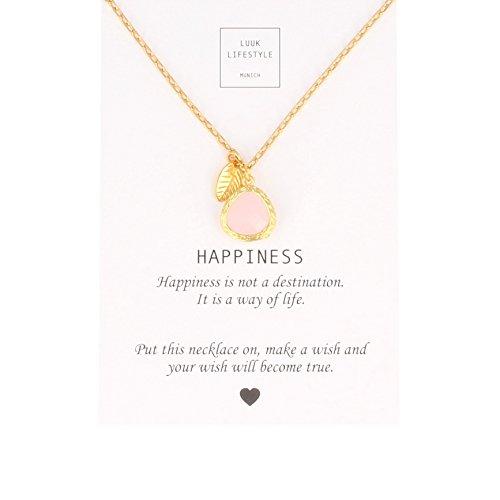LUUK LIFESTYLE Damen Schmuck, Geschenkkarte, Halskette mit rosa Stein in goldener Fassung und goldenen Blatt, Glücksbringer, Spruchkarte Happiness