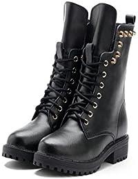 Botas cortas invierno damas zapatos de felpa plana de gran tamaño , 36 , black