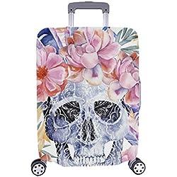 Paisley Skull Peony Spandex Maleta con Ruedas Maleta Protectora de Viaje Cubierta de Maleta 28.5 x 20.5 Pulgadas