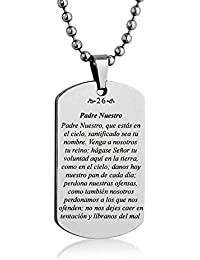 """Padre Nuestro Serenity Our Lords Prayer Spanish Engrave Dog tag Necklace Pendant 24"""" inch Stainless Steel Ball Chain with Giftpouch and Keyring"""