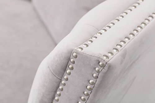 Dekoria Sofa Chesterfield Modern Velvet Light Grey 3-Sitzer