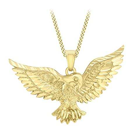 Carissima Gold 9ct Yellow Gold Eagle Pendant on Curb Chain Necklace of 46cm/18