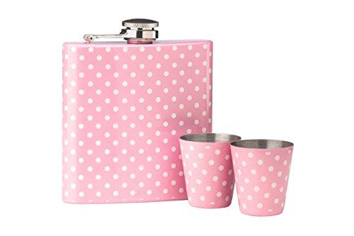 Premier Housewares Flachmann-Set, 170ml, Punkte-Design, Flachmann-Set, Rosa Gepunktet rose