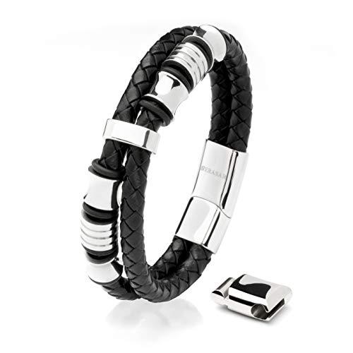 23cm Silber Männer-Armband Leder...