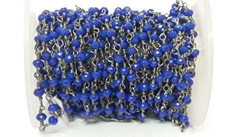 Earth Gems Park Super Fine Quality Gems Jewelry 5 Feet Lapis Lazuli Hydro Spacer Seed Beads Beaded Chain - Oxidized Wire Wrapped Chain - Beads Measure 3-4mm Size Code:- BF-37899
