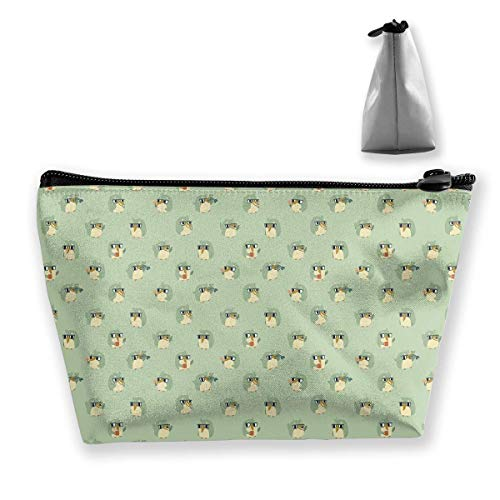 Green Animal Pattern Crab Cosmetic Bags Travel Toiletry Pouch Portable Trapezoidal Storage Pencil Holders