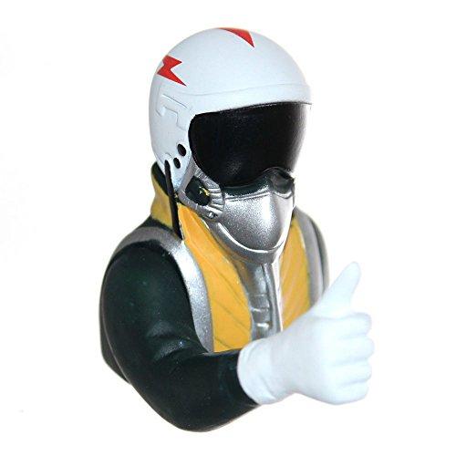 Joy-Button 1x Jet Pilot Büste mit Handzeichen für Modell Strahltriebwerk-Flugzeug 1/8 Pilot Figur 16g Helm Visier Maske Jetpilot 1:8 (Daumen hoch)