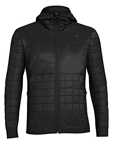 Icebreaker Men's Helix Long Sleeve Zip Hood Mid Layers, Black/Black/Black, Large