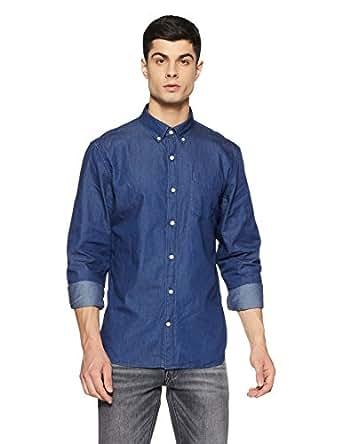 GAP Men's Indigo Twill Long Sleeve Shirt (140719700010_17859181003_S_Dark Indigo)