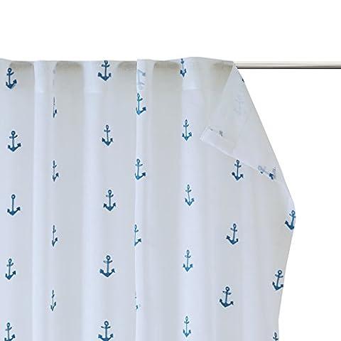 MIZONE KIDS Anchor Kinderzimmer Vorhänge mit Stickerei Voile Gardine Vorhang Set Dekoschal weiß blau für Babyzimmer (2er-Set, je