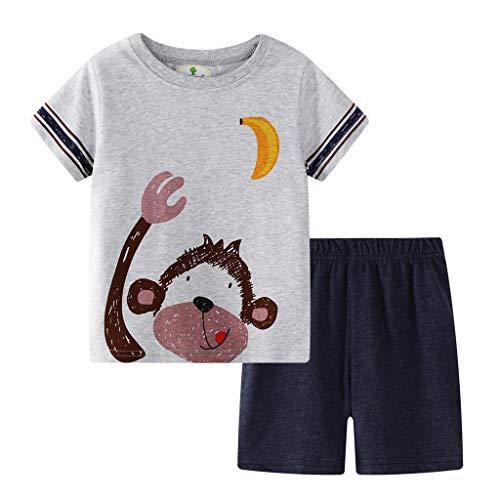 ❤❤JiaMeng Babykleidung Set 2 Pcs Neugeborene Jungen Mädchen Grafik Kurzarm Brief Druck Weste T-Shirt Top + Hose Outfits Set (3t Einhorn Kostüm)