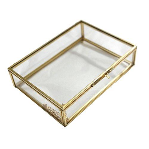 amagogo Mini Rechteckig Glasterrarium Geometrisches Glas Schmuckschatulle Sukkulente - 16,5 x 12 x 4 cm Kupfer