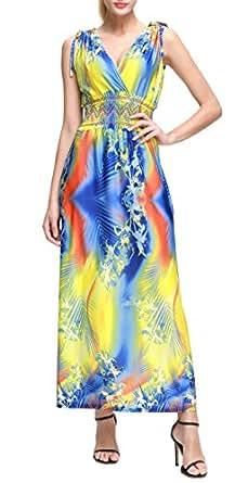 Wantdo Femme Robe de Plage Longue Maxi Florale Imprimée Bohème Grande Taille Été Jaune 40-42