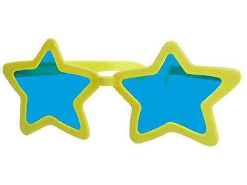 bo Partybrille Riesenbrille Spaßbrille Stern Karneval Fasching Party Brille F-050, wählen:gelb (Jumbo Clown Brille)