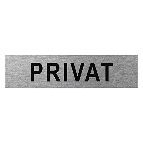 Türschilder in verschieden Größen, Bilder, Sprüche Türschild selbstklebend auch Firmenschilder oder Büroschilder (Privat 160x40mm Silber)