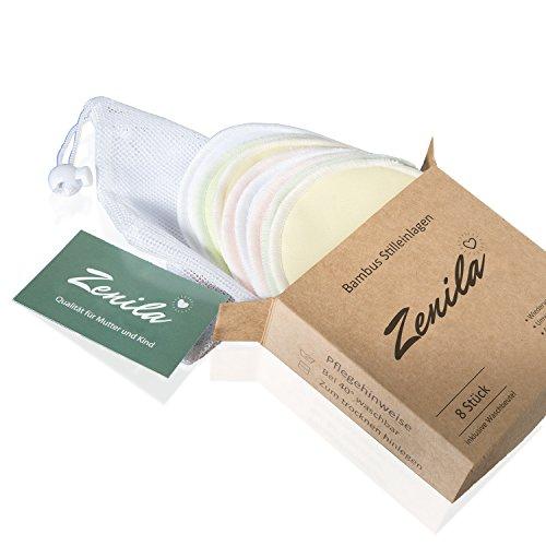 Waschbare Bambus Premium Stilleinlagen von deutschem Hersteller mit Wäschenetz - 8er Pack - hochwertig verarbeitet und supersoft - inklusive eBook (La-la-seiden-bh)