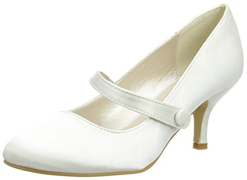 Spot On  Mary Jane Low Heel 'Wedding' Court,  Damen Mary Janes, ((Bianco (Ivory))), 39 Anne Michelle Heels