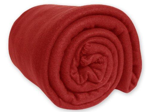 Coperta in PILE in tinta unita rossa 180 x 220 cm