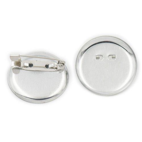 100pezzi 25mm 2,5cm metallo rotonda posteriore di sicurezza PIN spilla Finding DIY base clip color nichel