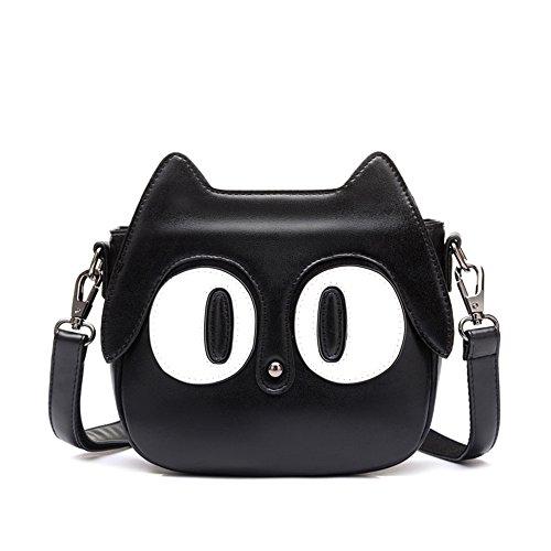 Otomoll Frauen Vintage Pu Leder Cute Cartoon Black Cat Fashion Umhängetasche Mobile Tote Crossbody-Tasche Black