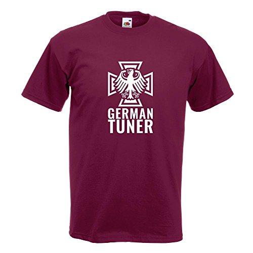 KIWISTAR - German Tuner - Eisernes Kreuz T-Shirt in 15 verschiedenen Farben - Herren Funshirt bedruckt Design Sprüche Spruch Motive Oberteil Baumwolle Print Größe S M L XL XXL Burgund