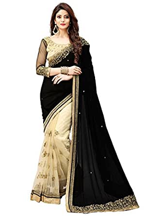 Shiroya Brothers Women's Lycra and Net Saree With Blouse Piece