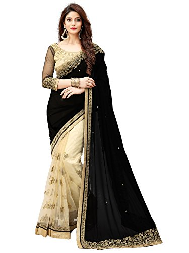 Shiroya Brothers Women\'s Lycra and Net Saree With Blouse Piece
