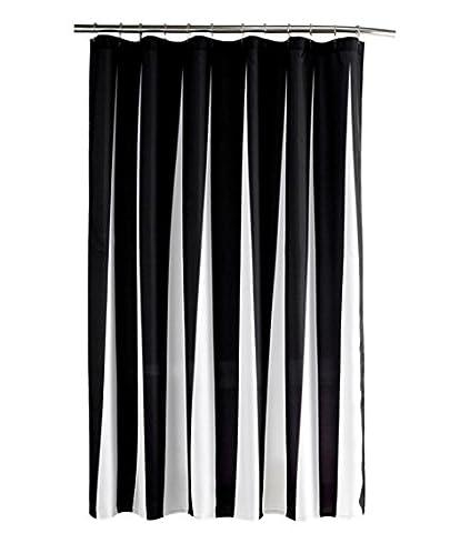Mildiou preuve et imperméable à l'eau Lavable Imprimé Polyester Tissu Rideau de douche pour salle de bains (72Inch79Inch, noir) ,