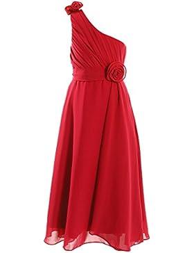 FAIRY COUPLE Mädchen A-line One Shoulder Chiffon Party Kleid Blumenmädchenkleid K0032